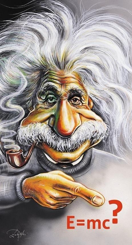 Albert Einstein w karykaturze Dariusza Łabędzkiego.