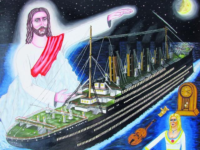 Jeden z obrazów Jamroza przedstawia postać Jezusa obecną podczas tragedii Titanica