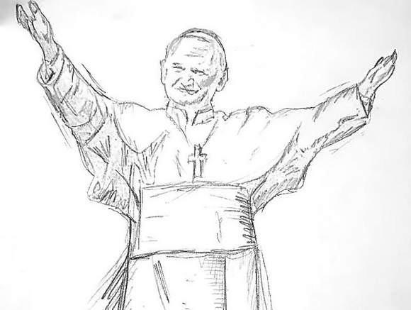 Szkic najwyższego na świecie pomnika Jana Pawła II