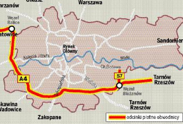 Od 1 Lipca Platna Obwodnica Krakowa Mapa Gazeta Krakowska