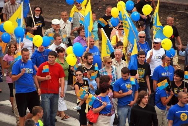 Ślązacy w trakcie Marszu Autonomii