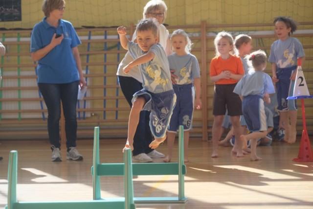 Ścigają się z ringiem, biegają przez płotki, zbierają piłeczki, rzucają piłką lekarską i oszczepem dziecięcym  – pięcio i sześciolatkowie z toruńskich przedszkoli i oddziałów przedszkolnych w szkołach podstawowych rywalizują w Toruńskiej Olimpiadzie dla Przedszkolaków. Gospodarzem dzisiejszych zawodów jest Szkoła Podstawowa numer 6 przy ul. Łąkowej. Jak usłyszeliśmy od dzieci przygotowania do tej olimpiady trwały do dawna. - Będę biegł przed płotki, bo jestem w tym szybki, mój kolega będzie rzucał piłką lekarską, to trudne – mówił nam jeden z przedszkolaków z placówki miejskiej numer 5 w Toruniu. Rywalizacja dzieci z ponad 20 placówek wyłoni najlepsze zespoły, które wkrótce spotkają się  na finałach w miejskiej hali przy ul. Bema. Dziś w SP 6 rywalizowali 5 i 6 latkowie z SP6, PM7, PM5, Przedszkola Gucio i  Bim-Bam-Bino, PM15 i PM8.  Zobacz też: Ranking toruńskich liceów. Które najlepsze? Finał zawodów Sprawny Miś w Toruniu