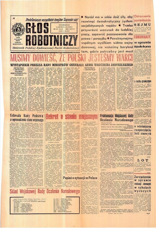 Głos Robotniczy z 14 grudnia 1981 roku.