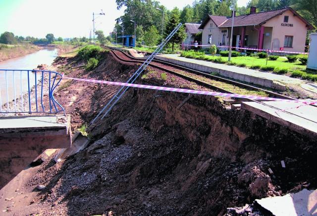 W Kłokowej wezbrane wody Białej uszkodziły nie tylko połączenie drogowe, ale także linię kolejową