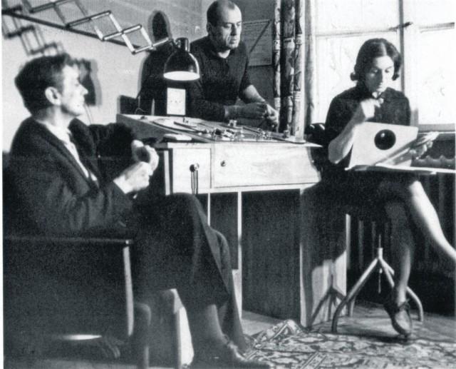 Studio 202 w pokoju montażowym. Od lewej Jerzy Dębski, Andrzej Waligórski i Ewa Szumańska