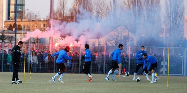 Piłkarze Lecha Poznań podczas sobotniego treningu