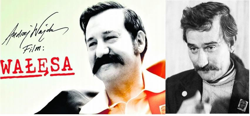 """Plakat reklamujący film """"Wałęsa"""" z Robertem Więckiewiczem, który ma doklejone wąsy. Reżyser nie planuje udziału Lecha Wałęsy w filmie"""