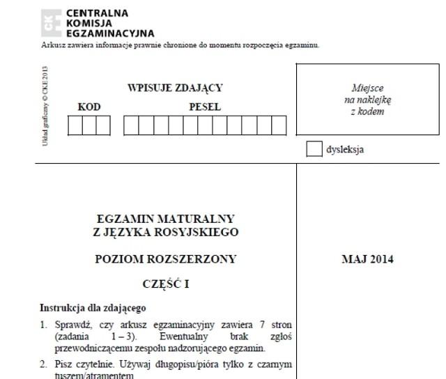 MATURA 2014 język rosyjski (poziom rozszerzony) 14.05.2014