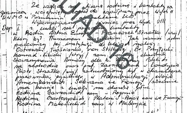 Fragmenty raportu Wydziału IV SB o Libickim z 1981 roku