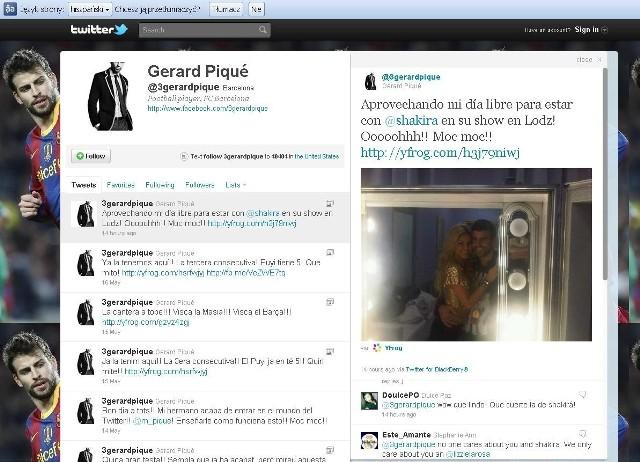 """""""Byłem na show Shakiry w Łodzi. Och! Mocne!"""" - napisał na swoim profilu w Twitterze Gerard Pique, piłkarz Barcelony."""