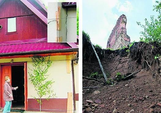 W Melsztynie niebezpiecznie osunęła się ziemia koło baszty; Rozjeżdżające się ściany kaplicy w Rudzie związano stalowymi linami
