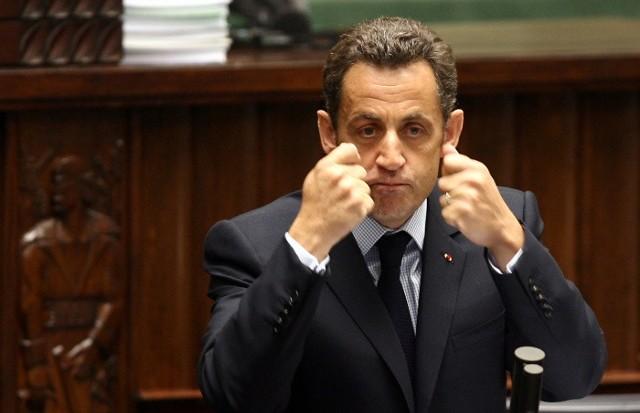 Prezydent Francji, Nicolas Sarkozy, podczas wizyty w polskim Sejmie