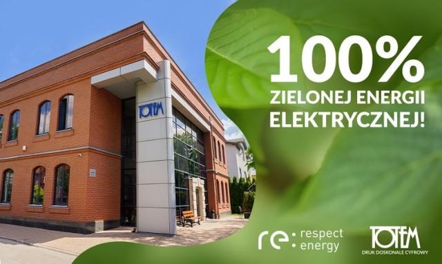 Stosowanie w 100 procentach zielonej energii wpisuje się w ideę firmy ekologicznej, jak jest drukarnia Totem.com.pl