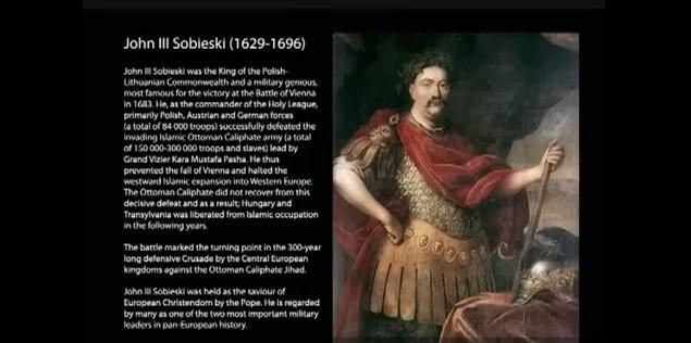 Fragment prezentacji Andersa Beivika poświęcony polskiemu królowi