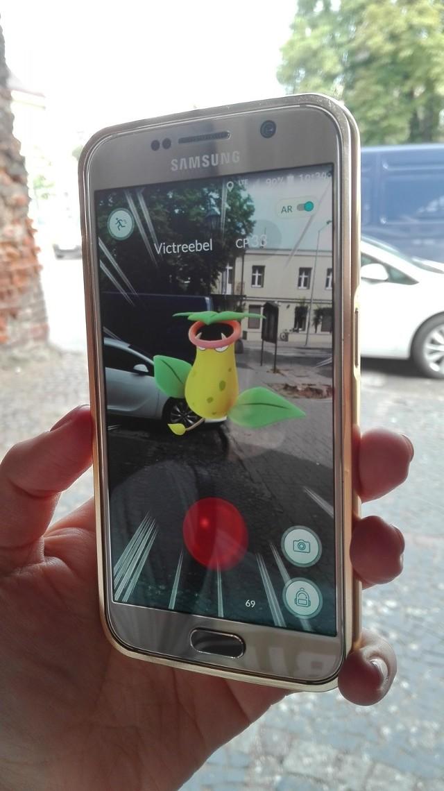 Przechadzając się po mieście dostajemy sygnał, że w naszej okolicy jest Pokemon i wtedy możemy go złapać