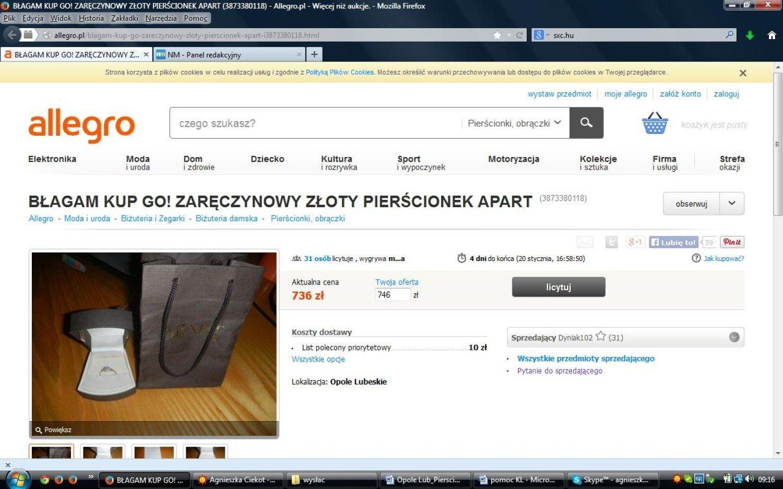 Aukcja Allegro Mieszkaniec Opola Lub Szuka Chętnych Na Pierścionek