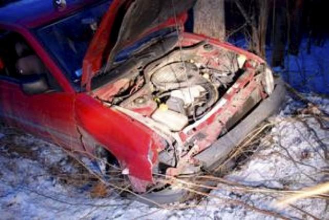 19-letnia kierująca fordem na prostym odcinku drogi zjechała na pobocze i uderzyła w drzewo