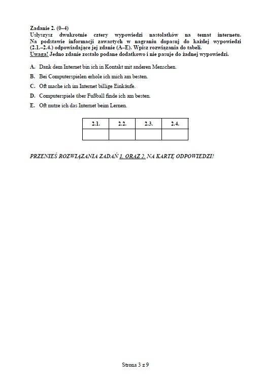 Próbny test gimnazjalny: Język niemiecki rozszerzony [ODPOWIEDZI I ARKUSZ]
