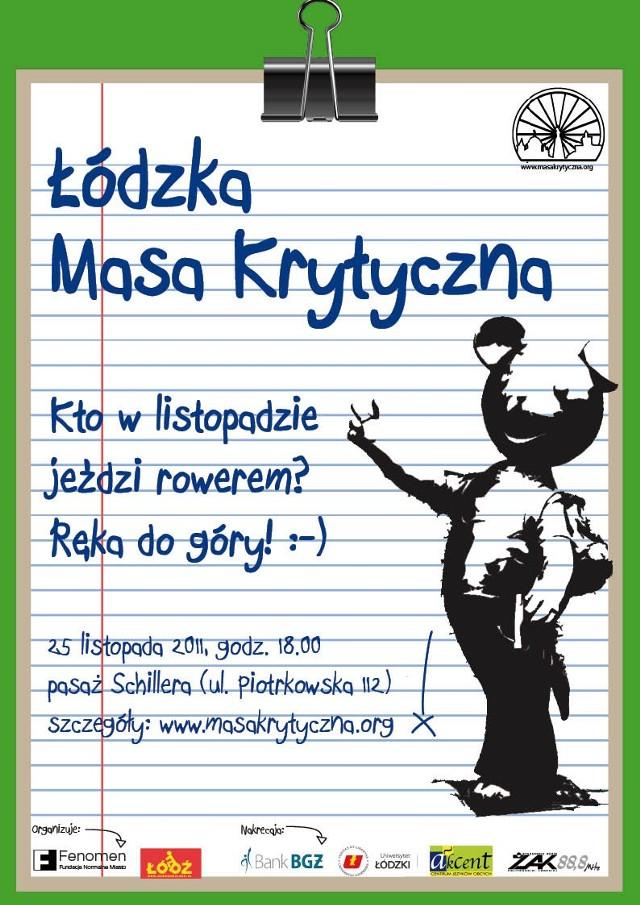 Listopadowa Masa Krytyczna w Łodzi.