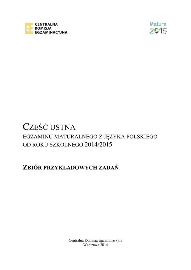 Matura ustna Polski 2019. Zbiór zadań do części ustnej z poprzednich lat
