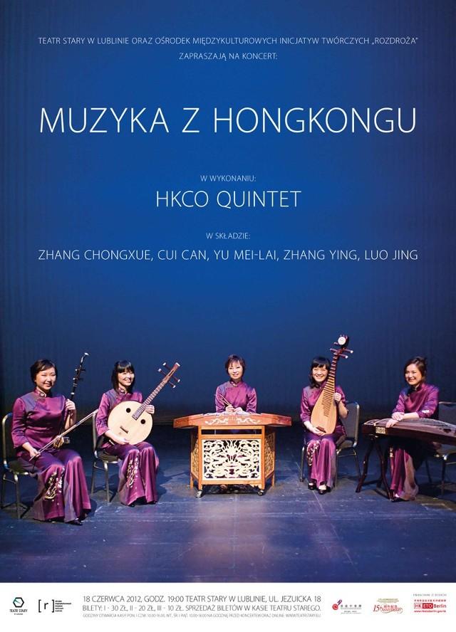 Kwintet HKCO z tradycyjnymi instrumentami, czyli, od lewej: erhu, zhongruan, yangqin, pipa i gu zheng