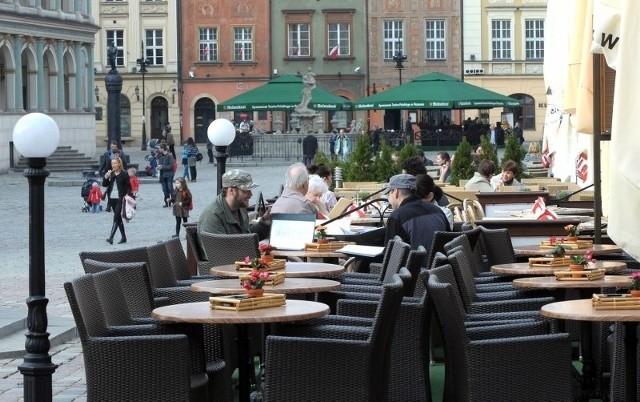 Ogródki na Starym Rynku w Poznaniu.