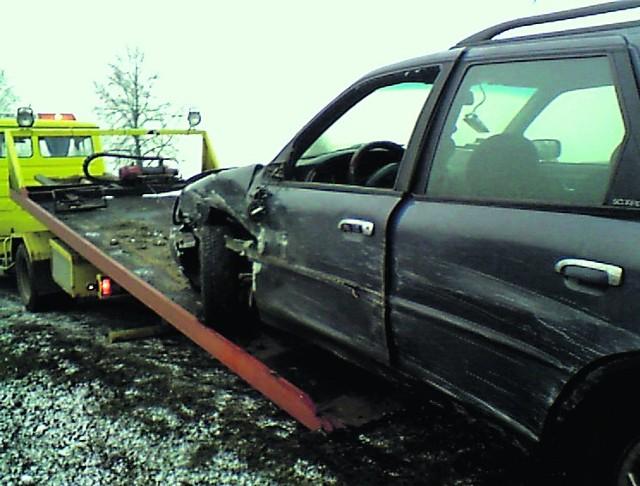 Samochód Łukasza Pawelskiego został poważnie uszkodzony w wypadku
