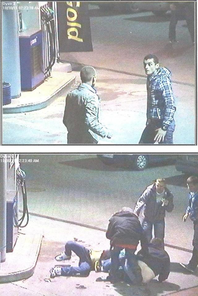 Bijatykę na stacji benzynowej w Piotrkowie Trybunalskim zarejestrowały kamery.