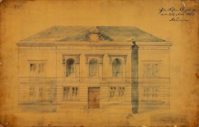 Tak wygląda oryginalny projekt budynku przy ul. Jagiellońskiej 9 z 1863 roku.