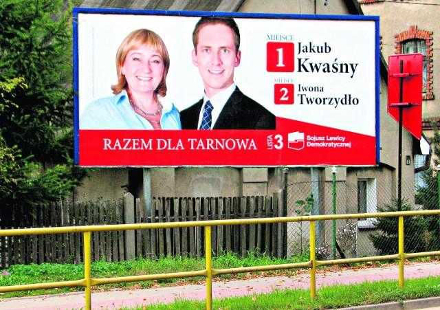 Reklama kandydatów SLD z Tarnowa - w Tarnowskich Górach