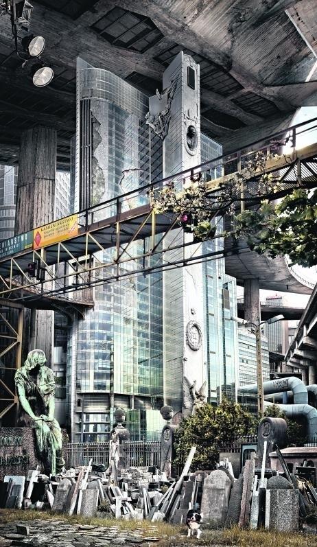 Niszczejący stołeczny wieżowiec Rondo 1 wg wizji artysty...