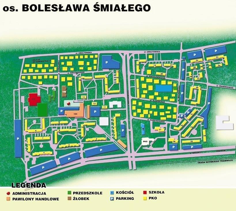 Mapa osiedla Bolesława Śmiałego.