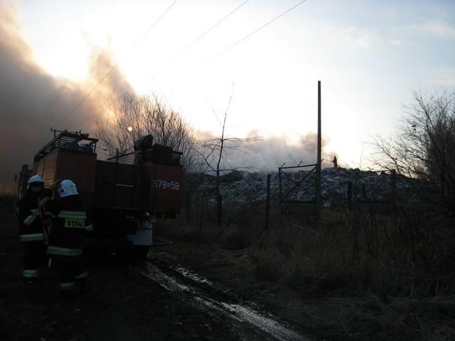 Zapaliły się śmieci na składowisku w Zduńskiej Woli.