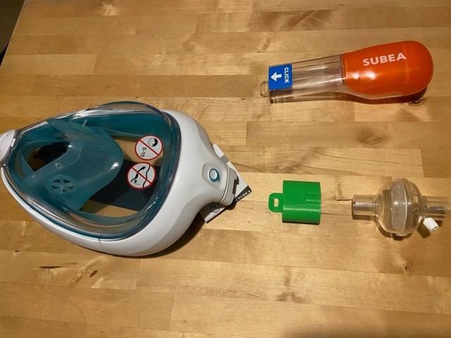 Maska do nurkowania z przyłączem do filtra hepa  Zobacz kolejne zdjęcia. Przesuwaj zdjęcia w prawo - naciśnij strzałkę lub przycisk NASTĘPNE