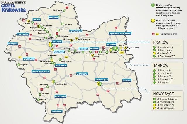 Gdzie Fotoradar Itd Moze Ci Zrobic Zdjecie Mapa Gazeta Krakowska