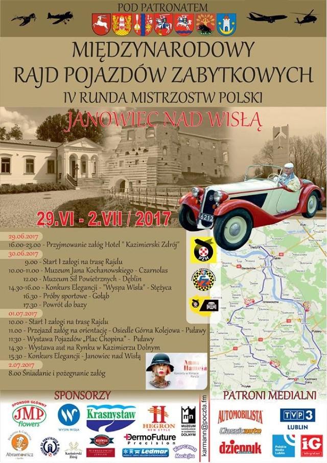 Już w piątek startuje Międzynarodowy Rajd Pojazdów Zabytkowych. Rozpoczęcie imprezy zaplanowe jest w Janowcu nad Wisłą, ale dalsze wydarzenia obejmują m.in. Czarnolas, Dęblin, Stężycę, Puławy i Kazimierz Dolny.