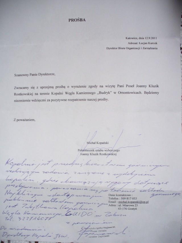 Politycy przypominają sobie o górnikach z okazji wyborówProśba o wyrażenie zgody na wizytę poseł Kluzik-Rostkowskiej w KWK Budryk i odpowiedź na nią