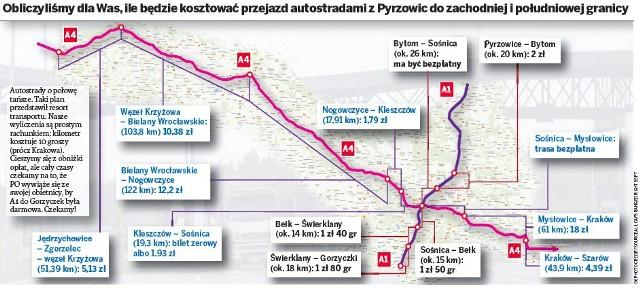 MAPKA z cenami opłat autostradowych