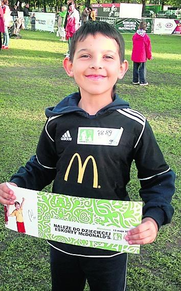 Jeden ze zwycięzców Dziecięcej Eskorty McDonald's - Kornel Piwko