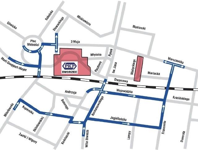 Zalecane objazdy w centrum Katowic