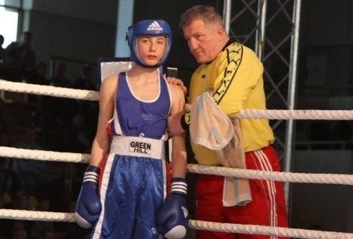 Adrian Kowal (Olimp Lublin) razem z trenerem Andrzejem Głąbem