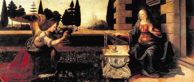 """Leonardo da Vinci, """"Zwiastowanie"""" . Archanioł Gabriel zwiastuje Maryi Pannie, że pocznie i porodzi Syna Bożego. W tradycji św. Gabriel jest też aniołem stróżem Świętej Rodziny"""