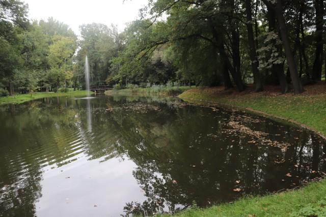 Park Miejski w Gnieźnie. Nadchodząca jesień na terenach zielonych