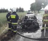 Pożar samochodu pod Gołańczą. Auto uległo całkowitemu spaleniu