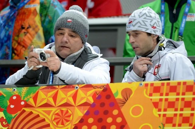 Zbigniew Klimowski (z lewej, z prawej Łukasz Kruczek) podczas igrzysk w Soczi