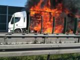Zapaliła się ciężarówka na Drodze Krajowej nr 8. UWAGA UTRUDNIENIA