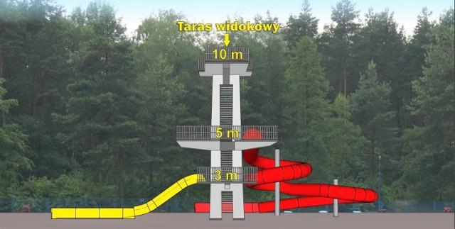 Wizualizacja zagospodarowania wieży na odkrytym basenie w Wolbromiu