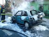 Krotoszyn - pożar samochodu na Szosie Benickiej