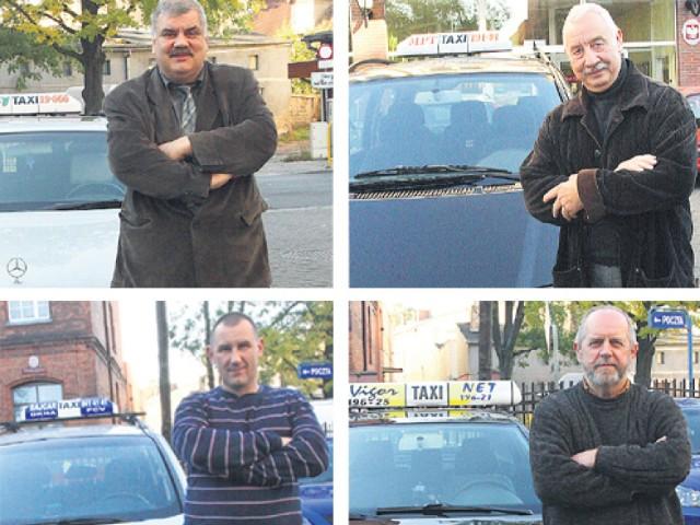 Na zdjęciu prezes City Taxi Zdzisław Grabiński, prezes MPT Teodor Krawczyk, prezes Taxi Bajcar Janusz Waliński, prezes Vigor Taxi Zbigniew Borkowski.