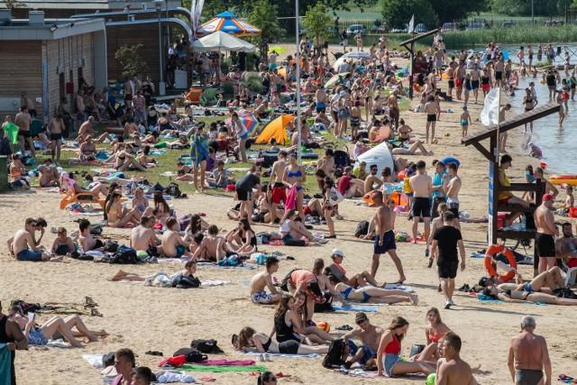 Plaża Dojlidy. Upał w Białymstoku 13.06.2019